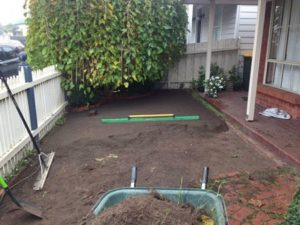 Synthetic Grass Melbourne: Hand excavated front yard at 80mm with fall away from house.