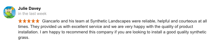 Customer review of a synthetic grass installation carried out in McCrae