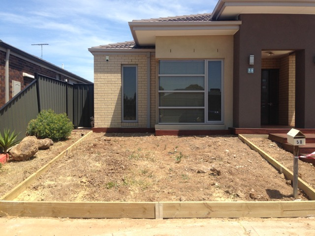 Front yard in Derrimut that is to be laid with synthetic grass