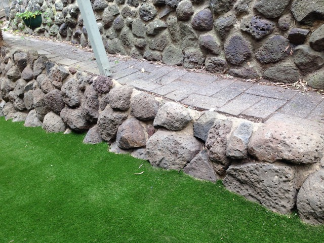 Synthetic Grass Cut In to Follow Rocky Contour - Montmorency