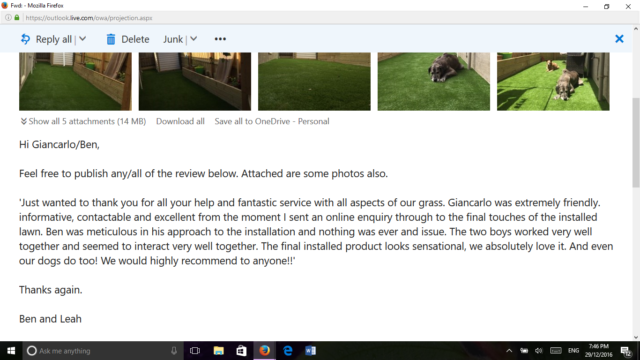 Business review sent via email - Mornington synthetic grass installation