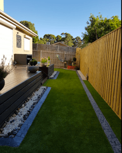 Synthetic grass installed in a Ringwood Backyard