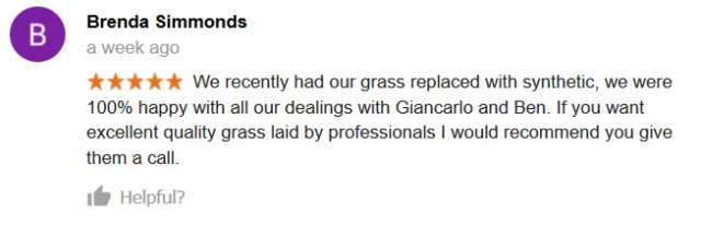 A review praising our work as synthetic grass installers