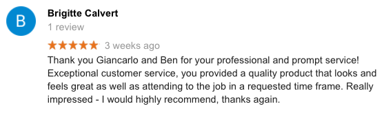 Peninsula Synthetic Grass - A five star google review from a happy client