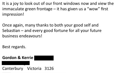 an email from a client in Canterbury expressing gratitude and elation with there synthetic grass installation