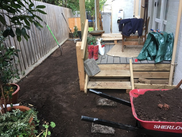 A back garden that has been excavated in preparation for the installation of synthetic grass