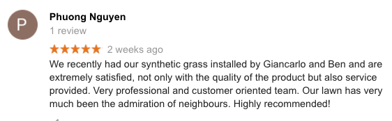 A Five star review for Peninsula Synthetic Grass from a client in safety beach