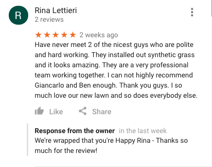 Synthetic Grass Review - Job Well Done!