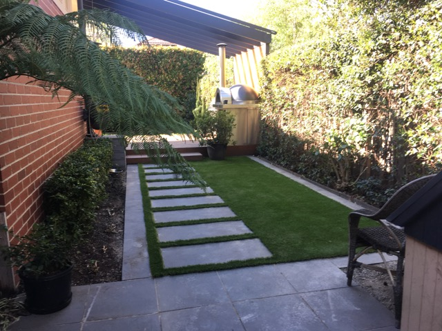 Malvern East - 40mm pile height synthetic grass 'cut in' around existing pavers