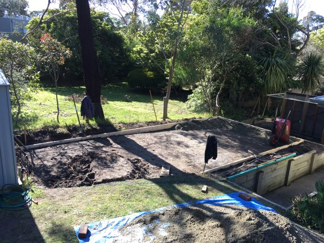 Installing framework and digging out site for synthetic putting green installation in Somers, Mornington Peninsula