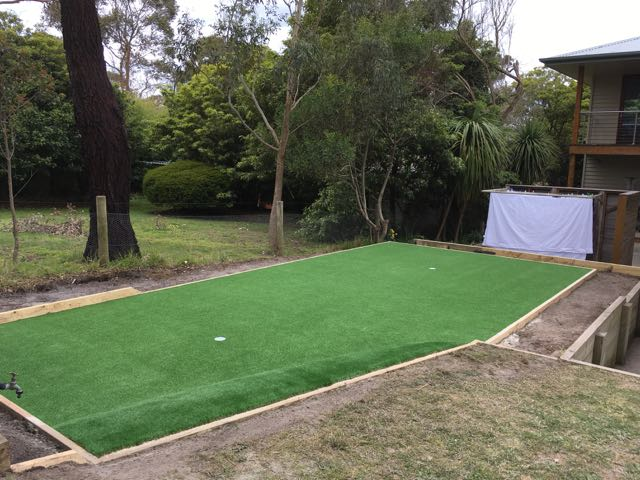 Completed synthetic putting green install  completed